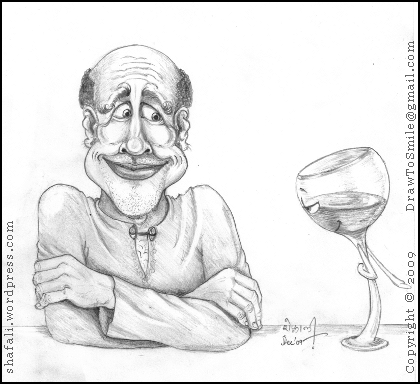 Amused man watches the antics of a wine glass.