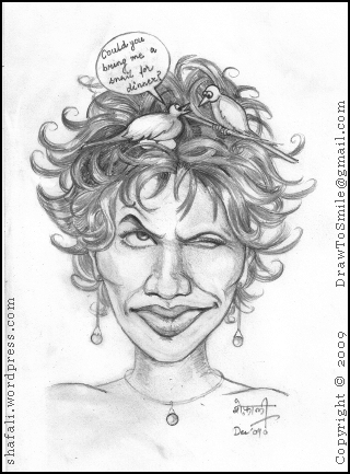 Cartoon or Caricature of Halle Berry with two birds nesting in her hair