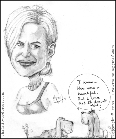 Caricature of Hollywood Celebrity Nicole Kidman, her nose, and two critical bloodhounds.