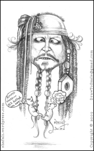 Caricature of Johnny Depp as Captain Jack Sparrow.