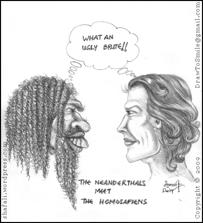 A caricature or cartoon about Perceptions - Neanderthals vs. Homo Sapiens