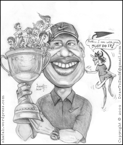 Caricature Of Tiger Woods