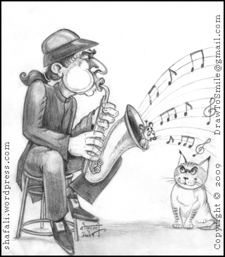 Musician blowing a trumpet, a confused rat, and a patient but hungry cat!