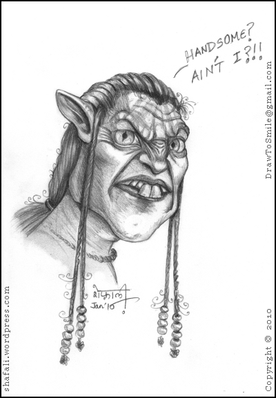 Caricature of Avatar, the James Cameron Block Buster Hollywood Movie.