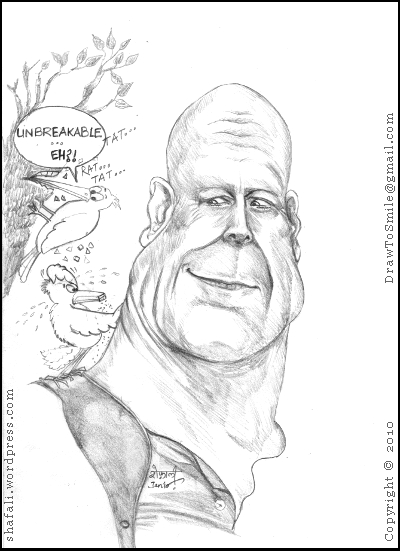 Caricature/Cartoon of Bruce Willis with A Die Hard Woodpecker Trying to Test his Unbreakability.