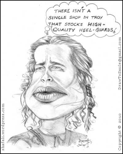 A caricature of Hollywood actor Brad Pitt as Achilles in Troy.