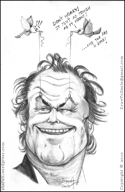 Caricature or cartoon of Jack Nicholson, the Hollywood actor, and two enterprising birds.