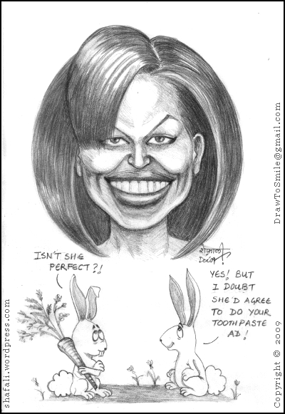 The Caricature of the First Lady Michelle Obama with Two Rabbits.