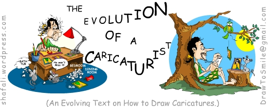 Header image for The Evolution of a Caricaturist, a book on how to draw caricatures, by Shafali