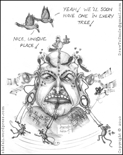caricature cartoon of a human with piercings, tattoos, dermal implants, birds, mice, bees, and butterflies!