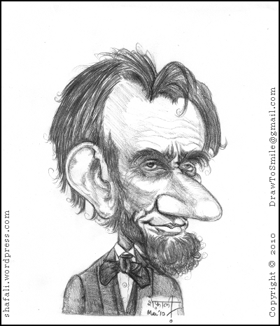 Caricature/Sketch of Abraham Lincoln the 16th President of the US who led America through the Civil War of 1861-65, and ended Slavery.