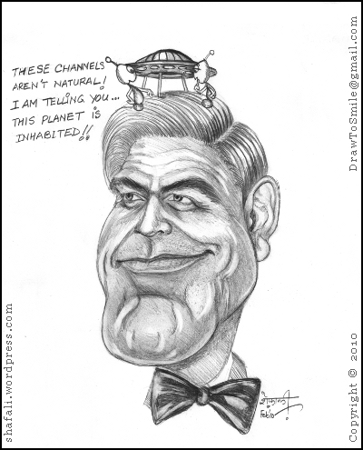 Caricature/Cartoon of George Clooney with two aliens discussing his hairstyle!