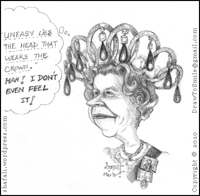 The caricature, cartoon of Queen Elizabeth II of the United Kingdom reflecting upon her crown!