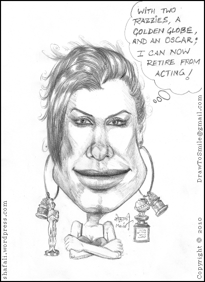 Caricature of Sandra Bullock, the Hollywood actress who won the golden globe, academy award (Oscar) for the Blind Side, and the Razzy Awards for All About Steve!