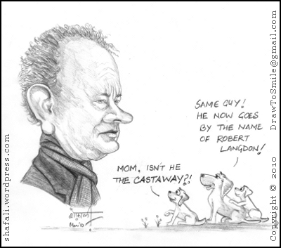 Caricature/Cartoon of Tom Hanks as Robert Langdon - with the pups and their mom!