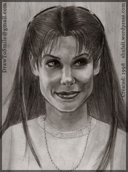 A Portrait of a Younger Sandra Bullock done in 1998.