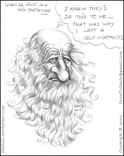 A caricature, cartoon, sketch, portrait of the great artist leonardo da vinci who was also a sculptor, an inventor, and a writer.