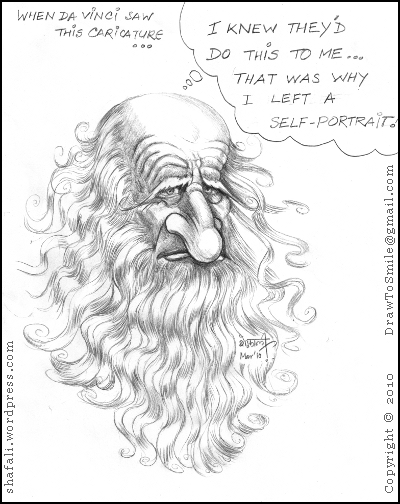 A caricature, cartoon, sketch, portrait of the great artist leonardo da vinci who was also a sculptor, an inventor, and a writer.