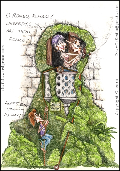 A Caricature, Cartoon, or picture of Romeo and Juliet, the characters from Shakespeare's drama, in a modern balcony scene.