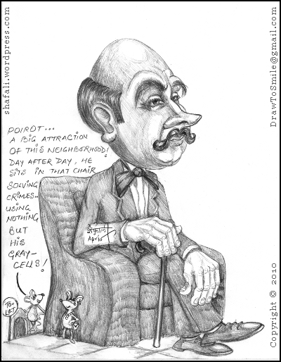 A caricature, cartoon, drawing of the Little Belgian Detective, Hercule Poirot, by Agatha Christie.
