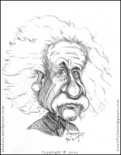 Caricature, Cartoon, Portrait, Drawing of Albert Einstein, the greatest mind of the twentieth century, who won a nobel prize for his discovery of the photoelectric effect.