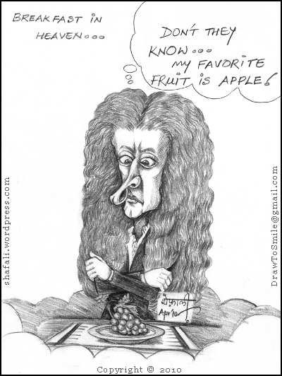 Caricature, Cartoon, and Drawing of Sir Isaac Newton (the Laws of Motion fame) is unhappy with his breakfast! The Apple is missing!