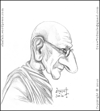 Portrait of Gandhi - Pen and Ink Drawing of Mahatma Gandhi (Bapu) with Spinning Wheel (2/2)