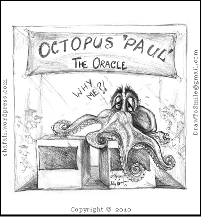 The caricature cartoon portrait of oracle paul octopus who made all correct prediction about the world cup winner.