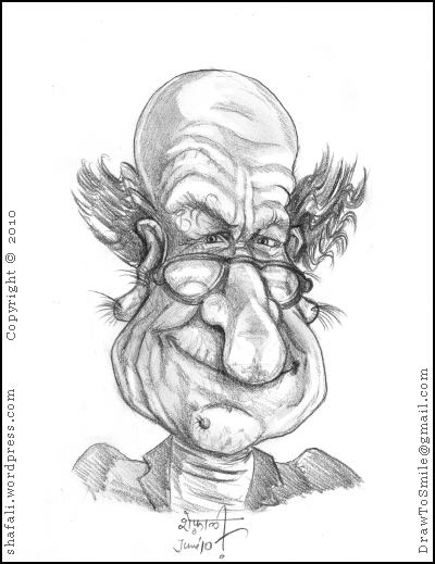 A Caricature bordering on a portrait, of a dirty old man, who ogled at women and followed them around.