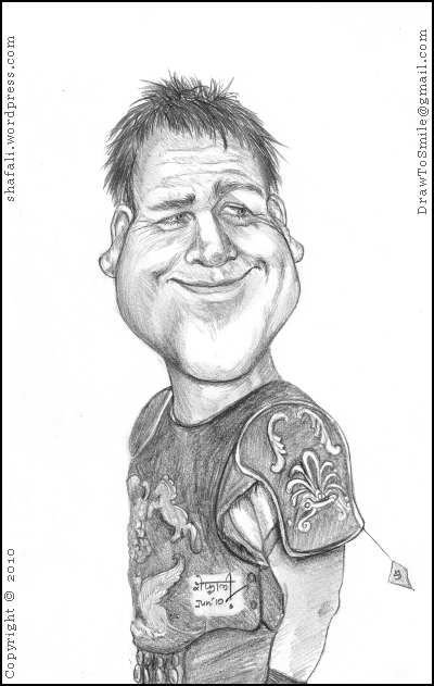 A Caricature, portrait, sketch of Hollywood actor Russell Crowe as Gladiator