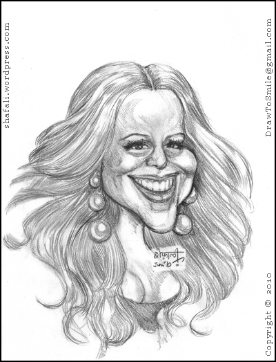A caricature, cartoon, or portrait of Mariah Carey, the American Hip-hop and Pop singer