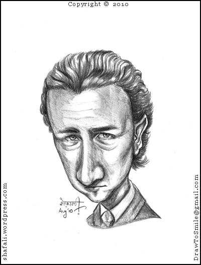 Caricature, Cartoon, Sketch, Portrait of the Hollywood Actor and Producer Edward Norton.