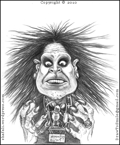 A Caricature, cartoon, drawing, portrait of Ozzy Osbourne, the heavy metal singer of Black Sabbath, who has been touring the world to promote his new album scream; tries to scare a mouse away - but the mouse fights back.