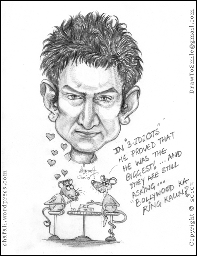 Caricature/Cartoon Bollywood Hero Aamir Khan - 3 Idiots - Bollywood ka King Kaun?