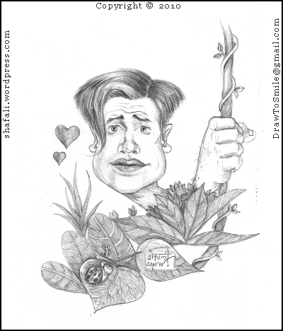The caricature, cartoon, drawing, sketch of Brendan Fraser as George of the Jungle with a much needed haircut, looking at Ursula for the first time!