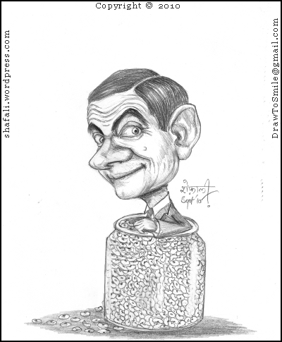 A Caricature, sketch, drawing, cartoon of Rowan Atkinson, the British Actor and Comedian, as Mr. Bean.