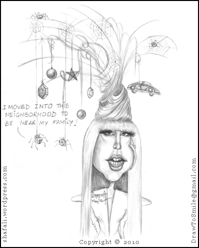 A cartoon caricature drawing of Lady Gaga with her weird hairstyle bad romance?