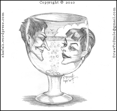 Caricature of a man and a woman in a wine glass for the Story Writing Blog Carnival 2010