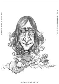 Caricature, Cartoon, Sketch, Portrait of John Lennon of the beatles, with his guitar