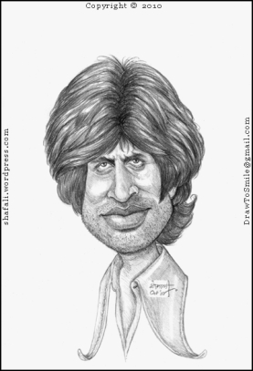 Caricature, Cartoon, Sketch, Portrait, of young Amitabh Bachchan, the legendary actor of the Indian Cinema - Bollywood, now also known as the Big B!