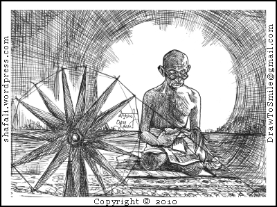 Pen and ink Drawing of Mahatma Gandhi sitting behind a spinning wheel (charkha) and reading.