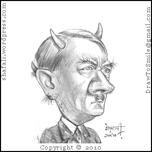 A Caricature of Adolf Hitler, Nazi Dictator with Horns!