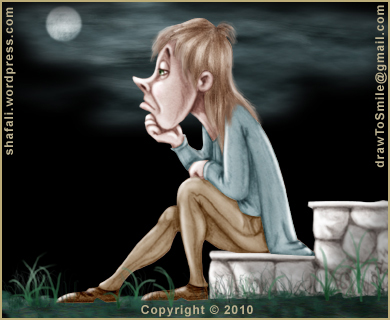Caricature, Cartoon, Color Drawing of a Sad young man sitting on the steps - Concept image for the Tell the Story in the Caricature Blog Carnival.