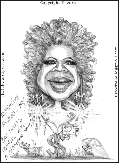 Caricature, Cartoon, Portrait, Sketch of Oprah Winfrey, America's most Popular Talk Show Host - Witness the Oprah Effect, Oprahfication in the post-therapy Mice!