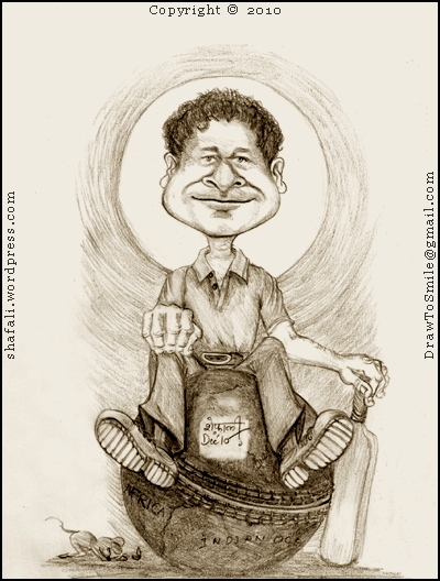 Caricature/Cartoon Sachin Tendulkar - The Legend of Indian Cricket - One of the World's Greatest   Batsmen!