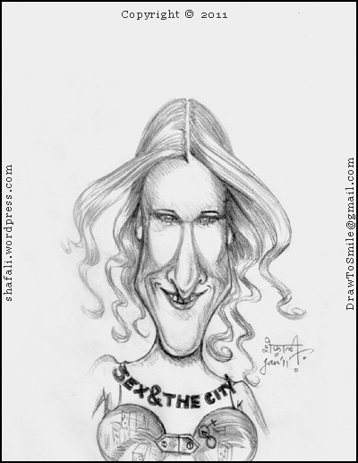 Sarah Jessica Parker - Caricature Portrait of Carrie Bradshaw - Sex and the City