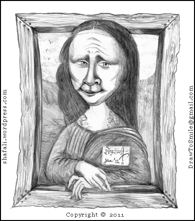 Caricature, Cartoon, Sketch, Drawing of Monalisa or Mona Lisa a Portrait by Leonardo da Vinci