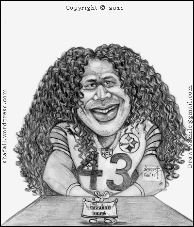 A cartoon, caricature, sketch, drawing, portrait of Troy Polamalu of the Pittsburgh Steelers, National Football League of the US, Superbowl