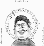 The Caricature, Cartoon, Drawing, Portrait of A R Rahman (Rehman) who won two Oscars for Jai Ho in Danny Boyle's Slumdog Millionaire.