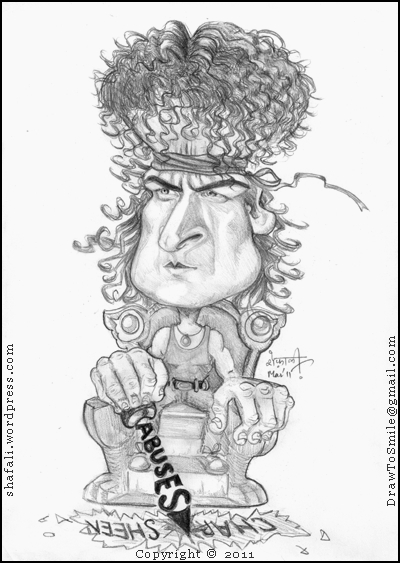 A Caricature, Cartoon, Sketch, Portrait of Charlie Sheen as Topper (rambo lookalike) in Hot Shots 2 who rips apart his own reputation with his rants and abuses against the producers of Two and a Half Men.